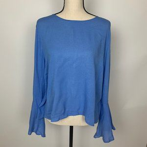 Lush Bell Long Sleeve Blue Tie Detail Blouse Large